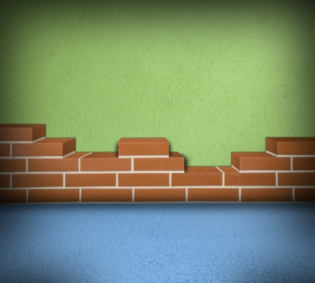 Room with partially built red brick wall and green concrete  Stock Photo - 24461775