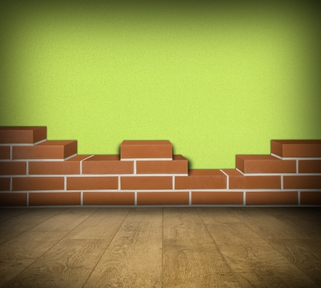 Room with partially built red brick wall and green concrete  Stock Photo - 24461798