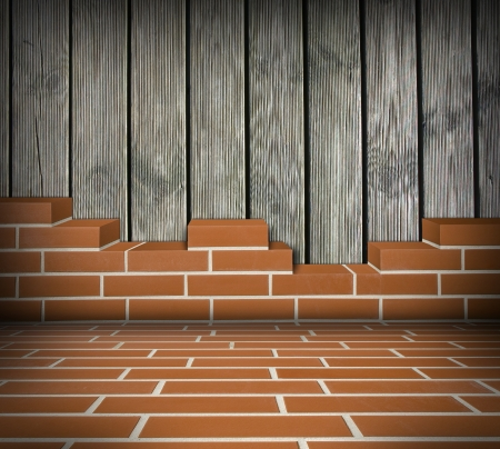 Room with partially built red brick wall and wood boards Stock Photo - 24461799
