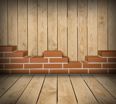 Chambre Avec Mur De Briques Rouges Partiellement Construit Et ...