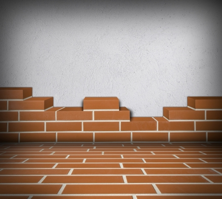Room with partially built red brick wall and white concrete Stock Photo - 24461812