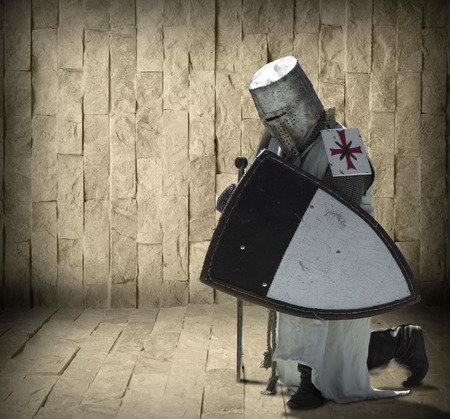 teutonic: Armored knight and blank stone wall in the background