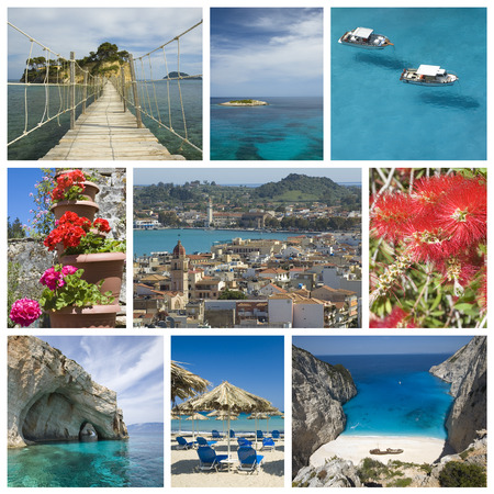 Photo collage from Greek island on Ionian Sea - Zakynthos  Collage includes most famous places of the island  photo