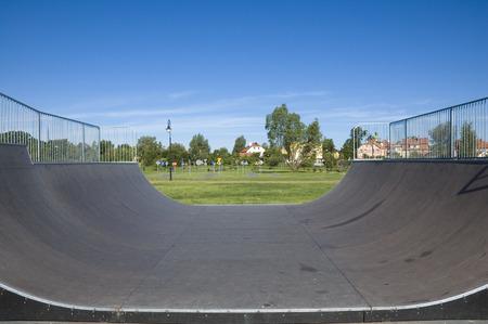 Outdoor skatepark with variuos ramps