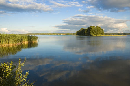 masuria: View of small island on the lake in Masuria district, Poland Stock Photo
