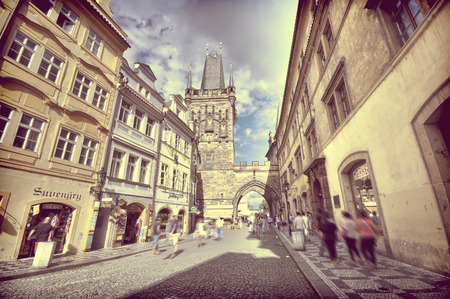lesser: Vintage view of Lesser Town Bridge Tower - entrance to Charles Bridge from Lesser Town side, Prague