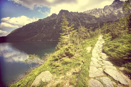 oko: Vintage view of Morskie Oko lake in Tatra mountains, Poland Stock Photo