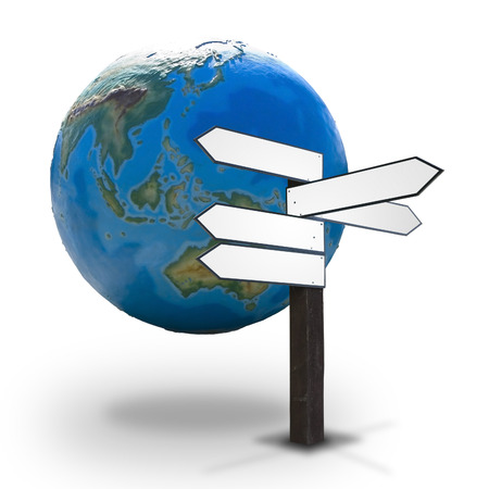 Blank wooden guidepost for Your text made up of arrows pointed different directions with the Earth globe in the background - concept of worldwide economy, politics, diplomacy, tourism, etc.