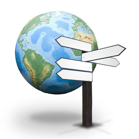 pointed arrows: Blank wooden guidepost for Your text made up of arrows pointed different directions with the Earth globe in the background - concept of worldwide economy, politics, diplomacy, tourism, etc.