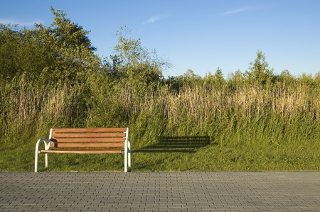 mazury: Boardwalk with empty benches on a lakeshore just before sunset, Mazury