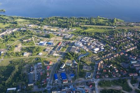 lakeshore: Aerial view of Gizycko - town on Niegocin lakeshore, Mazury, Poland