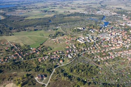 garden settlement: Aerial view of Wegorzewo - town in Masuria District, Poland
