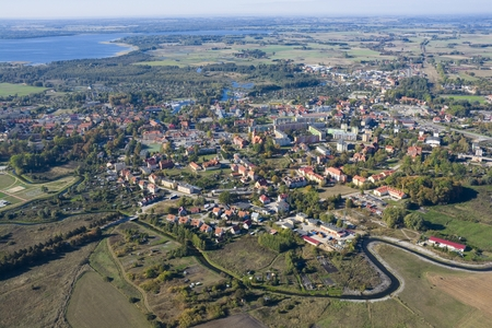 city park boat house: Aerial view of Wegorzewo - town in Masuria District, Poland