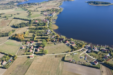 lakeshore: Aerial view of Kal - tourist resort in Masuria District located on Swiecajty lakeshore, Poland