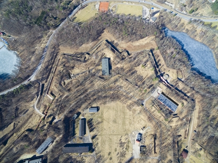Aerial view of star shaped Boyen stronghold in Gizycko, Poland (formerly Loetzen, East Prussia, Germany)