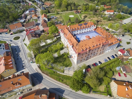Aerial view of Ryn town, Poland (former Rhein, East Prussia). Medieval teutonic knights castle on the right Editorial