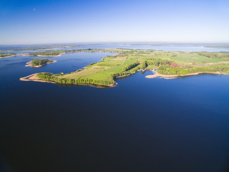 Aerial view of beautiful landscape of Mazury region, Swiecajty Lake, Poland Stock Photo