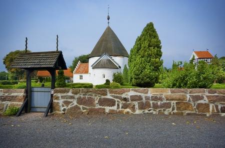 Defensive round church in Nyker, Bornholm, Denmark