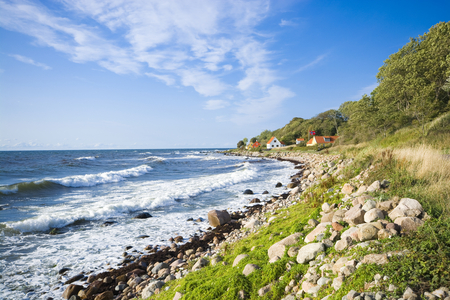 View of fishing hamlet on west coast of Bornholm island - Helligpeder, Denmark