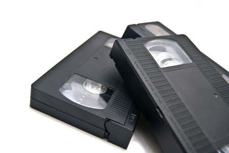 video cassettes on white Stock Photo