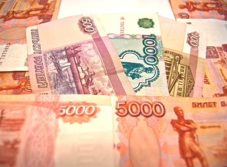Different Russian banknotes. 100, 500, 1000 and 5000 rubles. Stock Photo