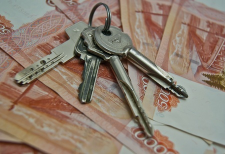 5000 rubles banknotes and keys background photo