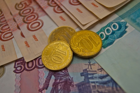 Banknotes and coins of Russian federation photo