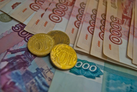 Different coins and banknotes of Russian