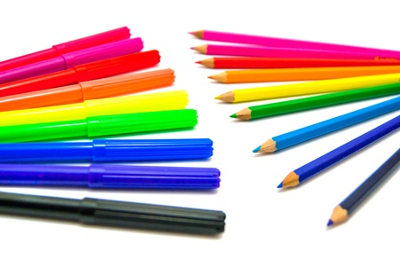 colorful markers and pencils on white background Stock Photo