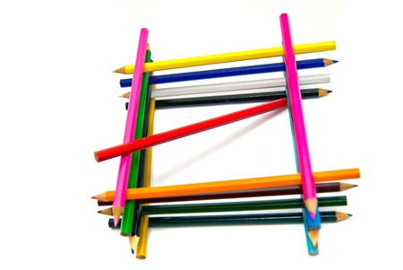 grid of colored pencils on white background