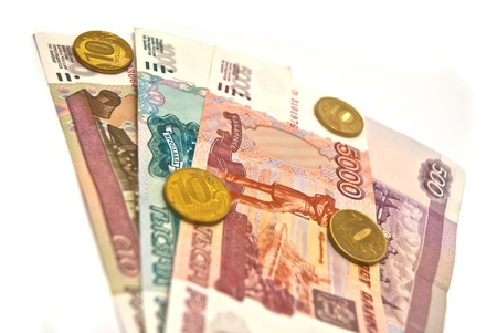 Russian banknotes and coins on white Stock Photo - 13152490