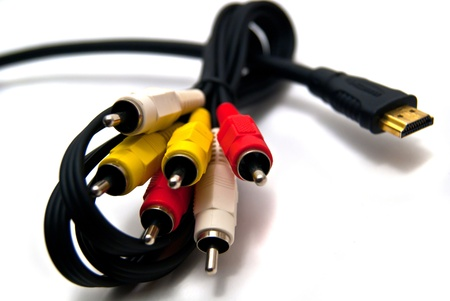 composit: Colorful HDMI & composit cables on white Stock Photo