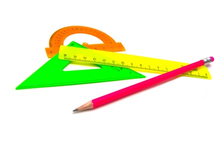 single pencil and rulers on white background