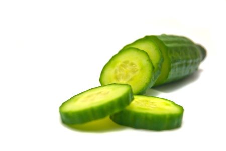 fresh cucumber close-up on white Stock Photo