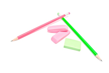 three erasers and pencils on white Stock Photo - 15216813