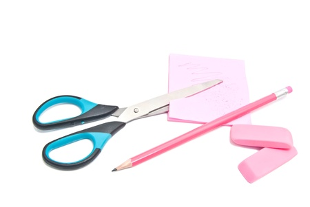 different office supplies on white  Stock Photo