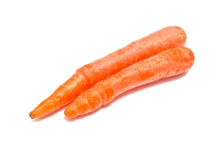 two raw carrots on white