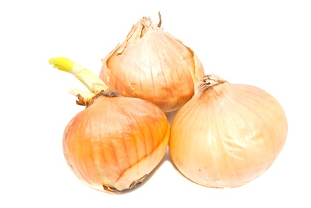 three onions close-up on white background
