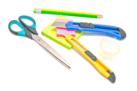 stationery for school on white Stock Photo - 17094804