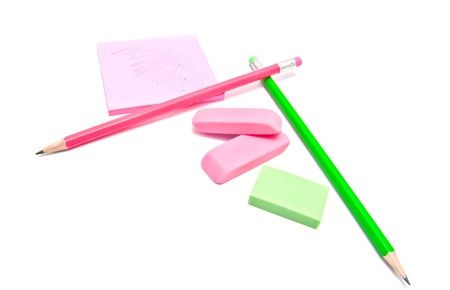 sticky note, erasers and pencils on white Stock Photo - 17094685