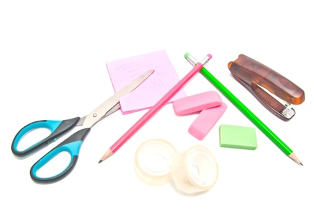 office supplies close-up on white background Stock Photo - 17094755