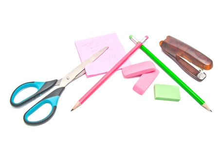 office supplies close-up on white Stock Photo - 17094746