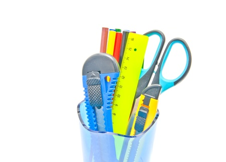 container with office supplies close-up on white background Stock Photo