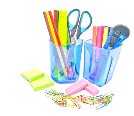 two containers with office supplies on white Stock Photo - 17094827