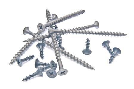 some black screws close-up on white photo