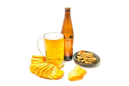 beer, chips and rye crackers on white