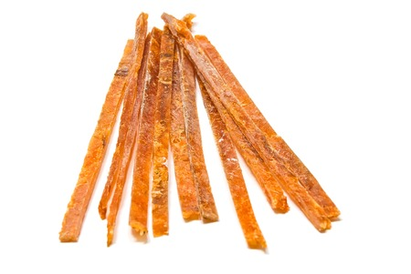 salty strips of smoked fish on white
