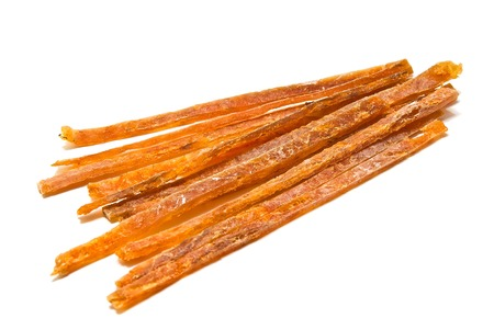 strips of tasty smoked fish on white
