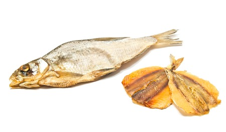 kipper: stockfish and two slices of fish on white Stock Photo