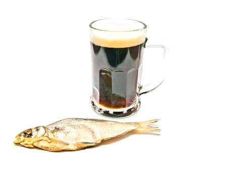 kipper: glass of beer and stockfish on white background Stock Photo
